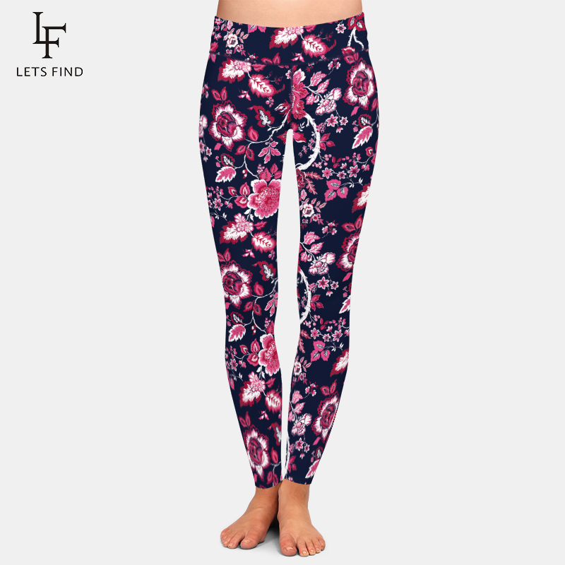 LETSFIND 2020 Push Up New Beautiful Flowers Design Women Print Leggings High Waist Plus Size Fitness Soft Leggings