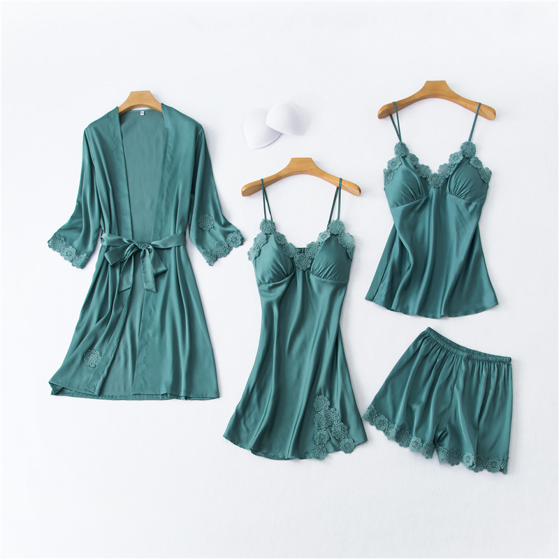 Daeyard Silk Pajamas For Women Floral Appliques 4Pcs Pyjamas Set With Inserts Spring Summer Sexy Lace Pjs Sleepwear Home Clothes