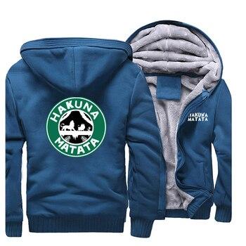 Movie The Lion King Hakuna Matata Jackets Men Simba Pumbaa Timon Sweatshirts Hoodies Winter Thick Zipper Coat Sportswear Outwear