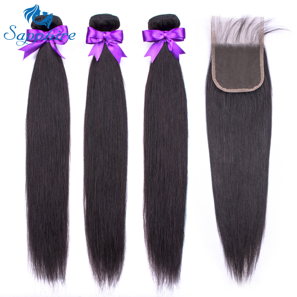 Sapphire Hair Brazilian Straight Hair Bundles With Closure 4*4 Middle Free Three Part 3 Option 100% Remy Human Hair With Closure