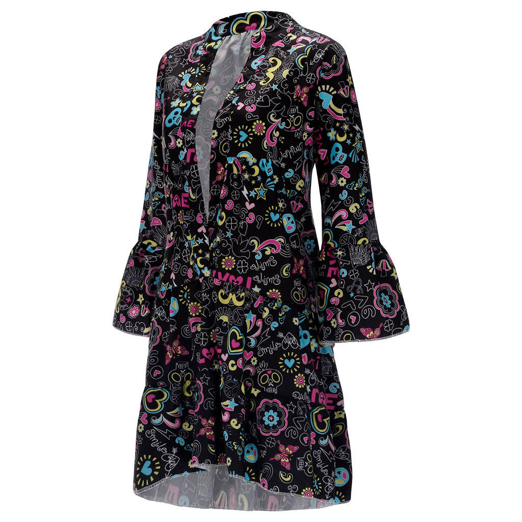H2cc29fc8c48b4834a40eb1d0d8c82278i Spring Autumn Women Dress Plus Size 5XL Loose Print Long Sleeve V-Collar Button Party Dresses Casual Loose Women Dresses 2019