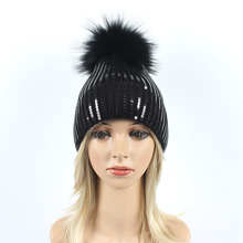 Womens Winter Hat Women Sparkling Fashion Fur Ball Kitted Hip Hop caps Warm