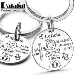 Güzel kişiselleştirilmiş bebek anahtarlık erkek kız adı doğum ağırlık yüksekliği yenidoğan anma yeni anne baba hediye anahtarlık P026_C