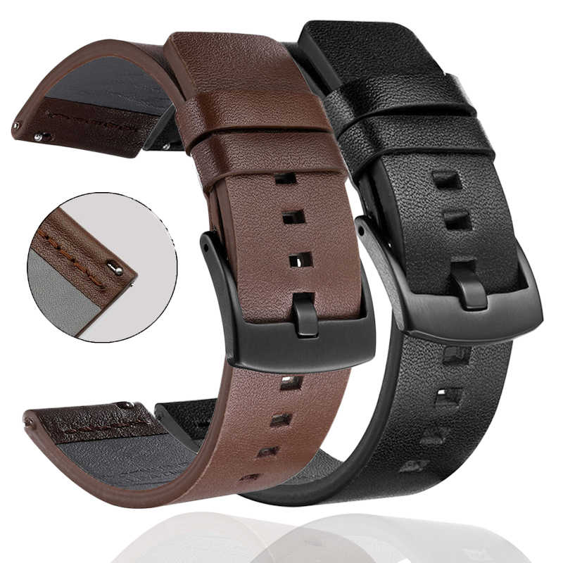 Leather Strap Bracelet For Huami Amazfit Bip Strap stratos 3 2 pace Amazfit gts gtr 47mm For Huawei Watch GT2 Wrist Strap Band