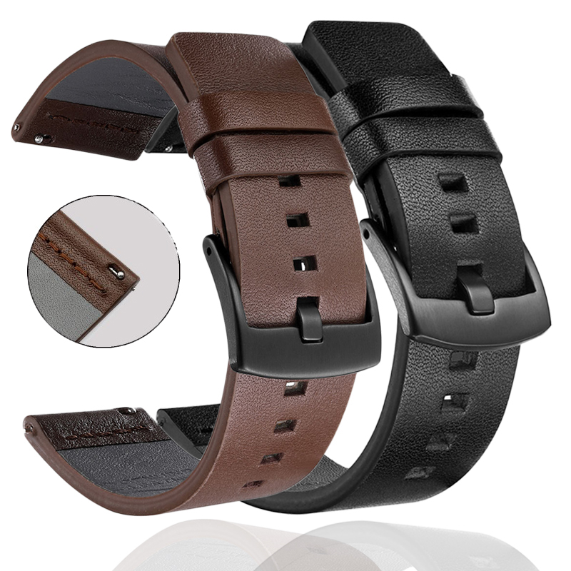 Leather <font><b>Strap</b></font> Bracelet For Huami Amazfit Bip <font><b>Strap</b></font> stratos 3 2 pace Amazfit <font><b>gts</b></font> gtr 47mm For Huawei <font><b>Watch</b></font> GT2 Wrist <font><b>Strap</b></font> Band image