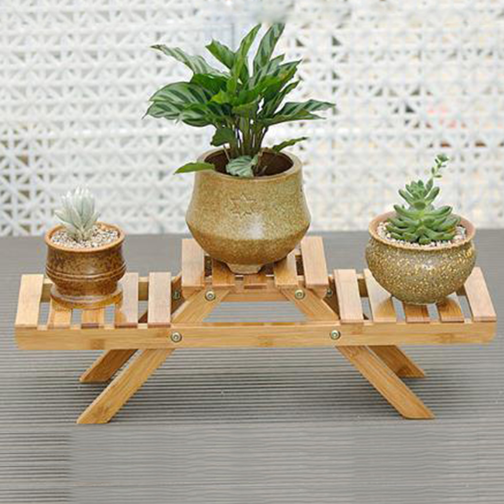 Rack Stand-Holder Planter Flower-Shelf Table Bamboo-Pot Living-Room Indoor-Display Outdoor