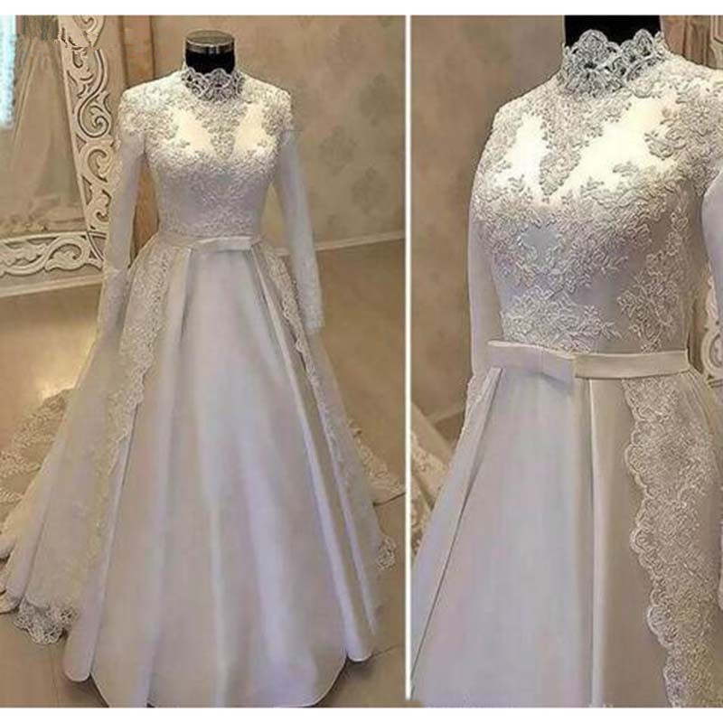 Vintage High Neck Muslim Wedding Dresses 2019 With Long Sleeve Lace Over Skirts Satin Country Bridal Gowns With Belt