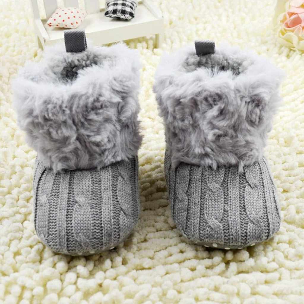 Baby Kid Boys Girls Knitted Fur Toddlers Soft Sole Short Warm Soft Snow Boots Shoes 0-18 Months Warm Dropshipping ##0
