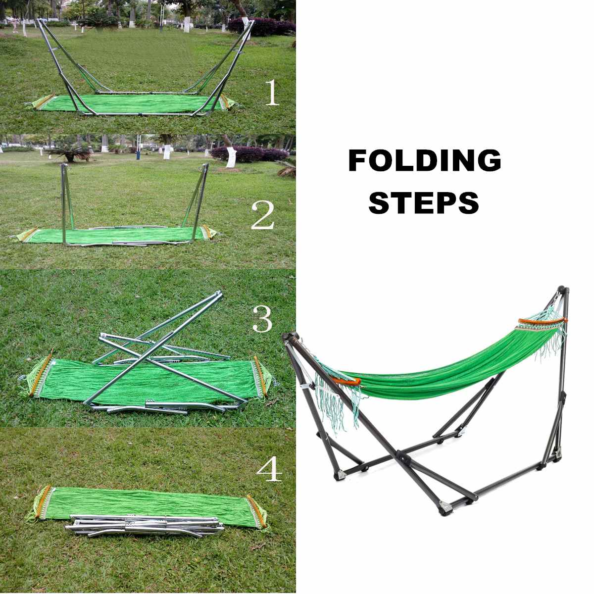 Folding Hammock Stand Bag Set 250KG Portable Steel Pipe Sleeping Swing Garden Outdoor Furniture Hunting Camping Accessories Kit - 2