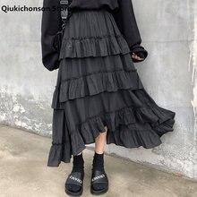 Qiukichonson Midi jupes longues femmes Maxi jupe Goth Lolita été taille haute asymétrique haut bas ruché volants jupes rok