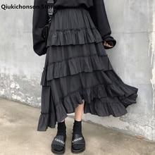 Qiukichonson Midi Long Skirts Womens Maxi Skirt Goth Lolita Summer High Waisted Asymmetrical High Low Ruched Ruffle Skirts rok