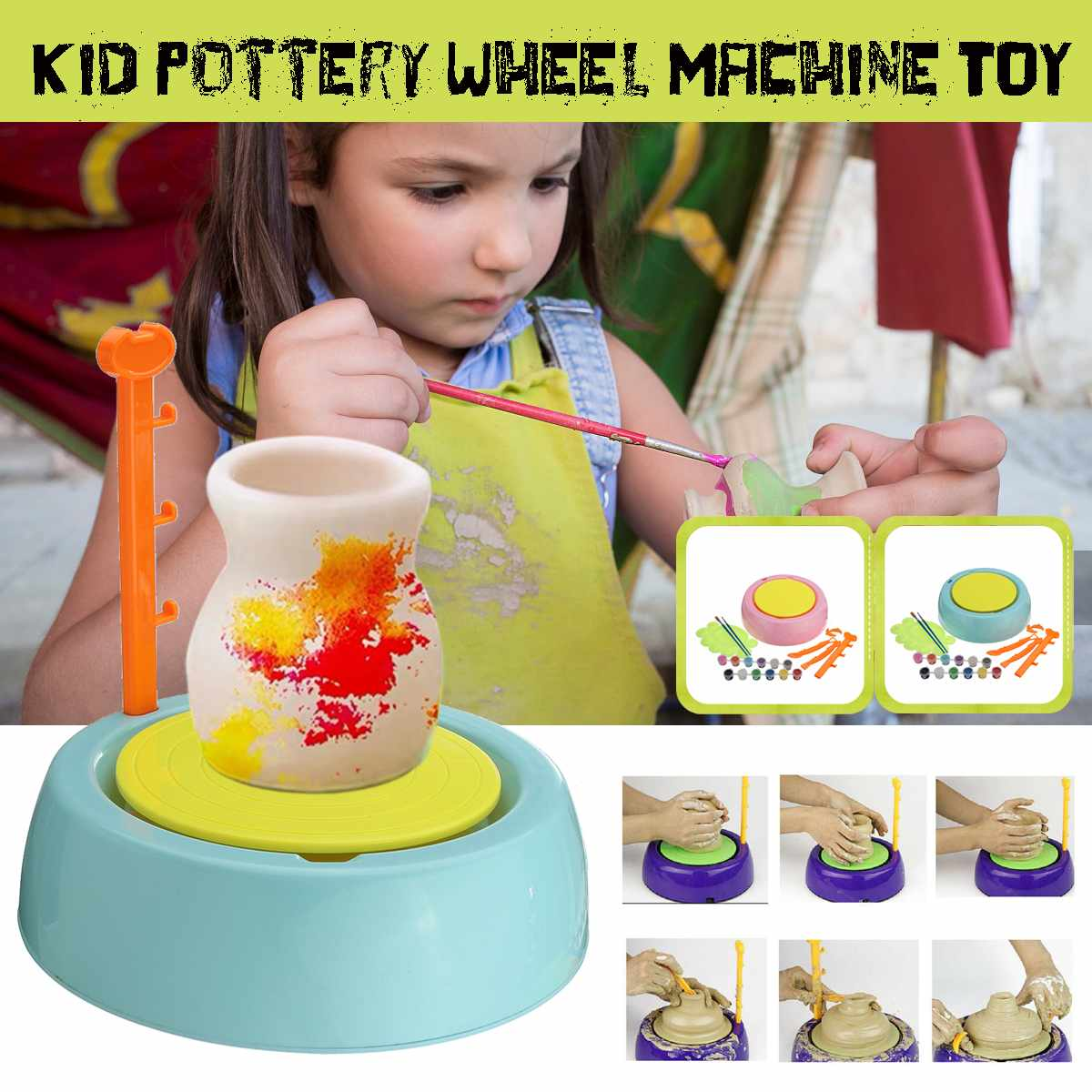 Ceramic Handmake Electric Pottery Wheel Machine Kids DIY Art Tool Clay Making Toy Craft Work Ceramics