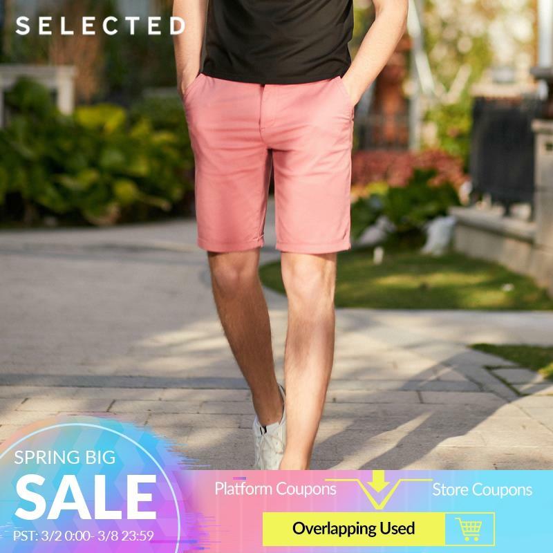 SELECTED Men's Summer Pure Color Cotton-blend Business-casual Shorts S 4192SH511