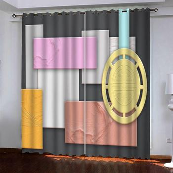 2020 3D Blackout Curtains For Living Room Bedroom Cube marble silk curtains customize 3D photo curtains
