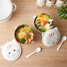 Stainless Steel Instant Noodle Bowl Cartoon Large Eating Bowl with Lid Spoon Large Soup Noodle Bowl Household Item Kitchen Tool 5 6 8 inch japanese cherry blossom ceramic ramen bowl large instant noodle rice soup salad bowl container porcelain tableware