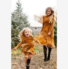 Осеннее платье для мамы и дочки платья с длинным рукавом одежда
