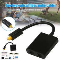 New Dual Port Digital Optical Adapter Splitter Fiber Audio Cable 1 in 2 Out for DVD CD Player DOM668| |   -
