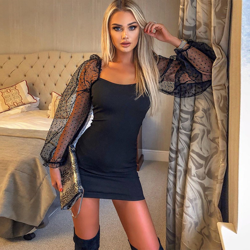 Hugcitar 2019 Mesh Puff Sleeve Patchwork Sexy Mini Dress Autumn Winter Women Streetwear Party Outfits Club Dresses