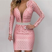 Women Lace Tunic V Neck Dress Sexy  Club Mini High Waist Party Bodycon