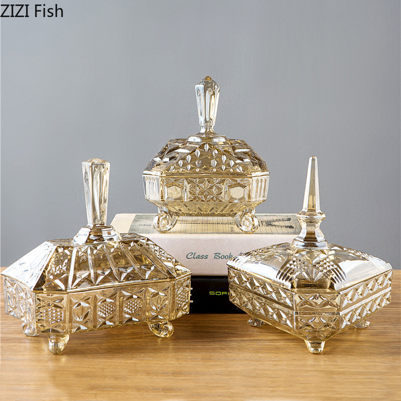 Storage-Box Crystal With Glass Candy Household European-Style Lid Dried-Fruit Creative