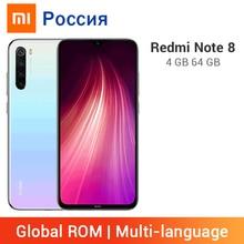 Xiaomi Redmi Note 8 с глобальной прошивкой, 4 ГБ, 64 ГБ, смартфон, 48мп, четырехъядерный процессор Snapdragon 665, Восьмиядерный мобильный телефон, аккумулятор 4000 мАч