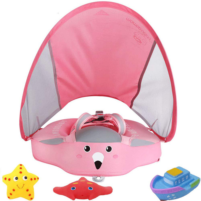 Baby Infant Soft Solid Non-inflatable Float Lying Swimming Ring Children Waist Float Ring Floats Pool Sunshade  Sun Canopy