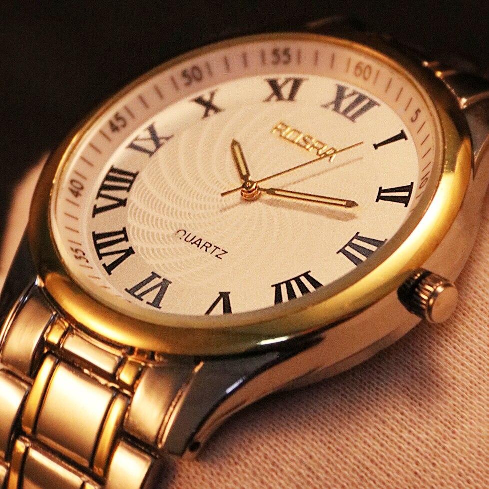 Men Steel Quartz Wristwatch Relojes Hombre Male Watches Mens Silver Gold Classic Relogio Masculino Hours Erkek Kol Saati