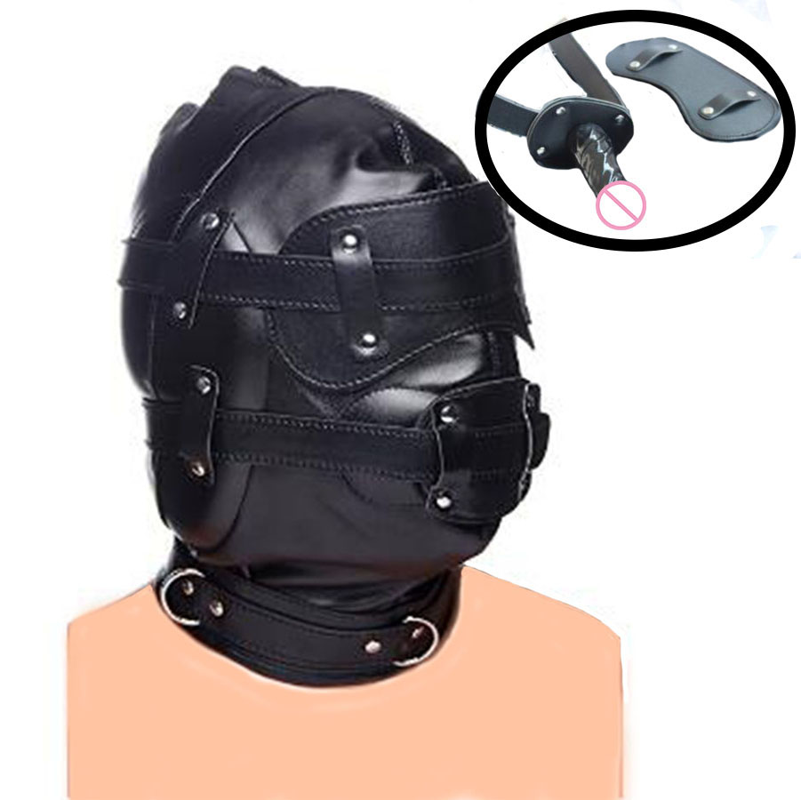 Leather Head Harness Dildo Hood Mask Bondage Restraints, BDSM Cosplay Blindfold&Gag,Sexy Costumes Exotic Apparel