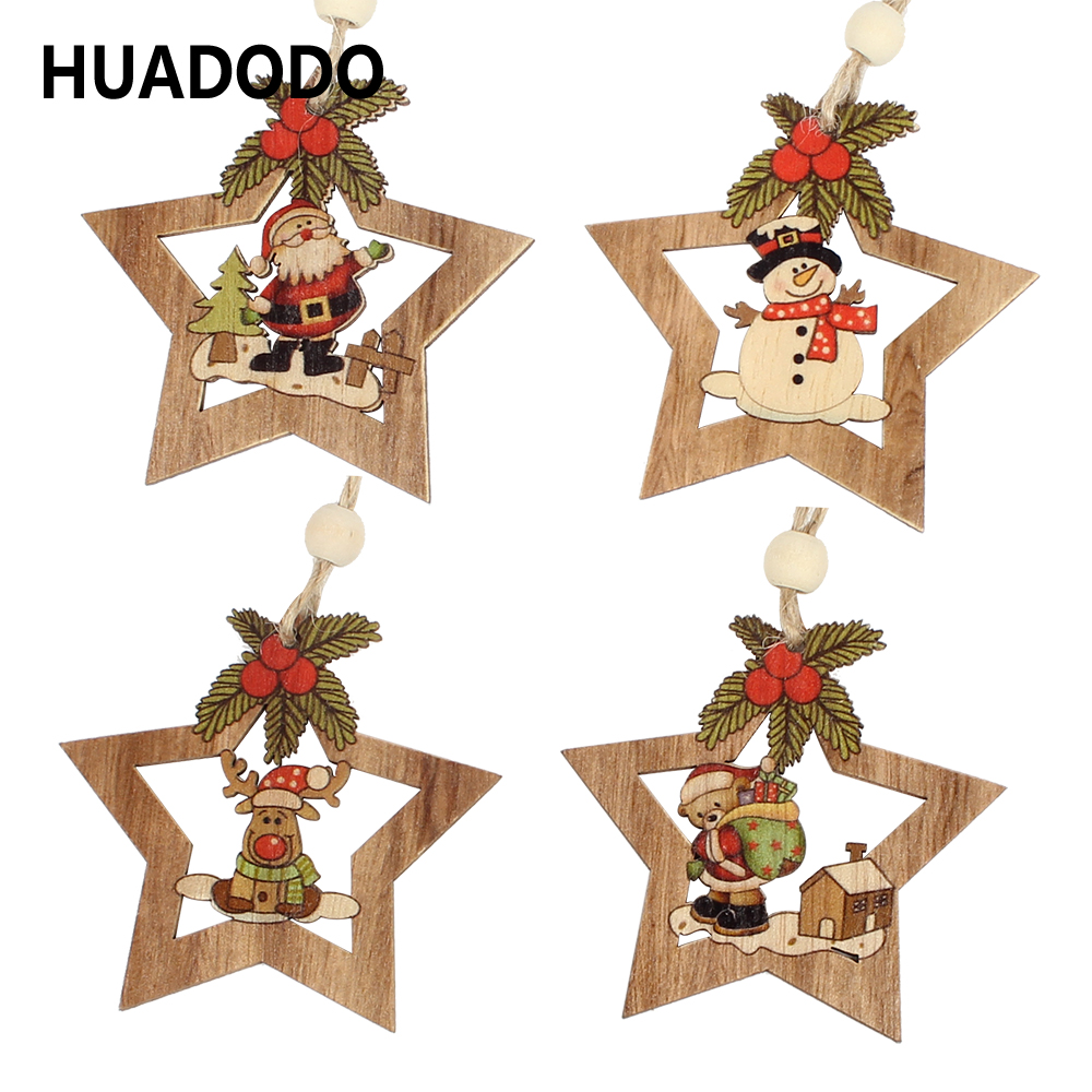 HUADODO 4Pcs Wooden Star Christmas Tree Decoration Pendants Ornaments For Christmas Decoration Ornament New Year Kids Gift