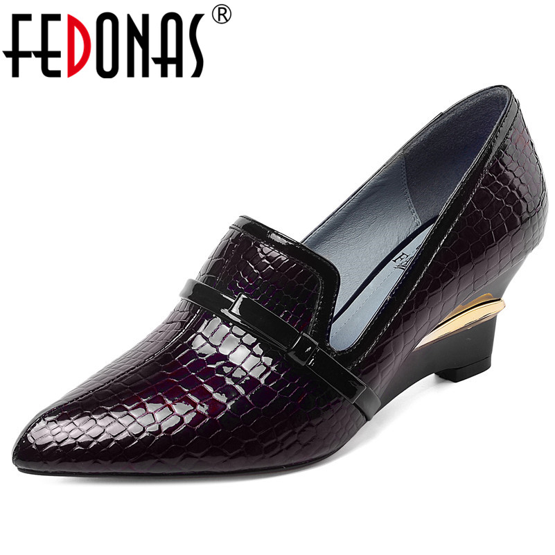 FEDONAS 2020 Spring New Animal Prints Cow Patent Leather Women Pumps Elegant Female Wedges Shoes Woman Sexy Office Party Shoes
