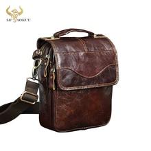 """Qualidade de couro original masculino casual ombro messenger bag moda cruz corpo saco 8 """"almofada tote mochila 144 r"""