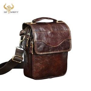 "Image 1 - Quality Original Leather Male Casual Shoulder Messenger bag Cowhide Fashion Cross body Bag 8"" Pad Tote Mochila Satchel bag 144 r"