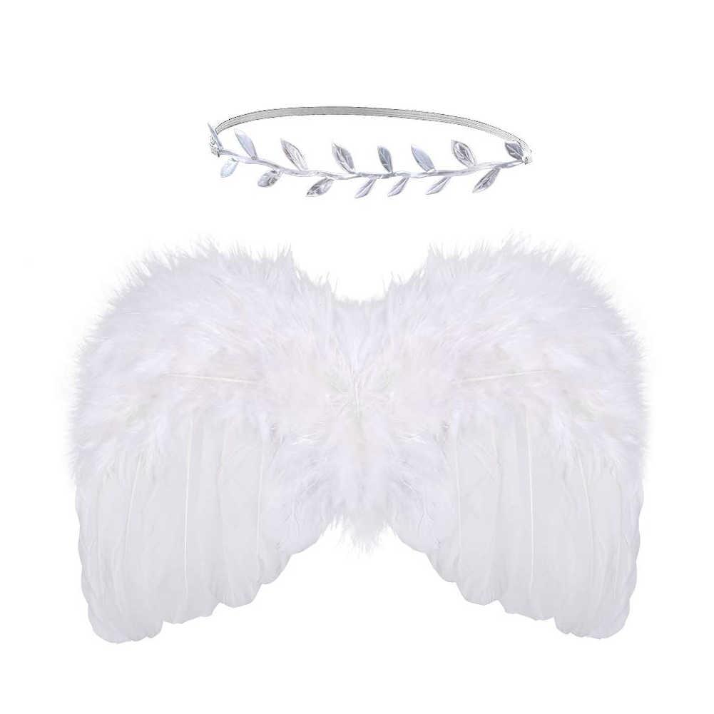 Jungen Mädchen Weiche Partei Blatt Stirnband Nette Neugeborene Baby Engel Flügel Kunst Geschenk Foto Prop Set Künstliche Feder Kleidung DIY