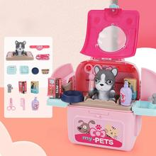 Pet Backpack Practical Exquisite Plastic Pretend Play Pet Care Set for Gifts