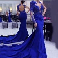 2019 Royal Blue One Long Sleeve Formal Mermaid Prom Dress Evening Gowns Party Dresses Vestido Longo Festa