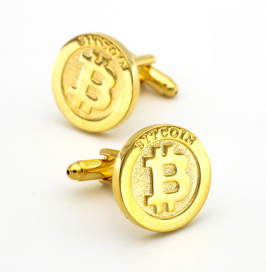 Coin Design Bitcoin Cufflinks For Men Quality Copper Material Golden Color Cuff Links Wholesale&retail 1