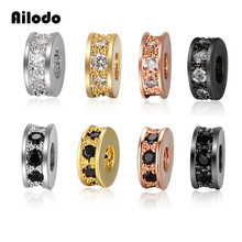 Ailodo 3Pcs/Lot CZ Basic Spacer Beads DIY Metal Bead Brass Micro Pave Zircon Charm for Men Jewelry Bracelet LD379