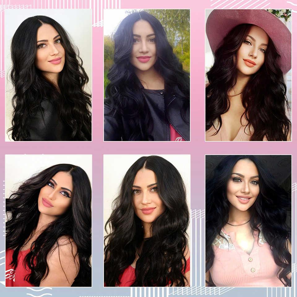 I's a perruque longue vague de corps noir perruque perruques synthétiques pour les femmes noires partie moyenne naturel brun rouge perruques haute température cheveux