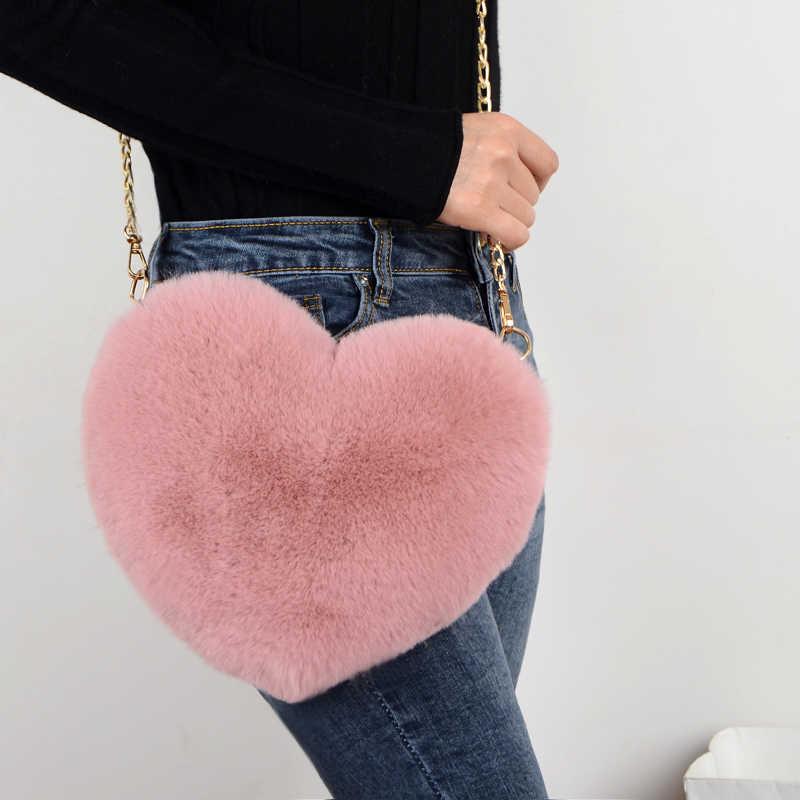 2019 moda Bolso bandolera con forma de corazón para mujer bolso de mensajero con cadena de peluche amor bolsos colgantes de hombro moda regalo del Día de San Valentín