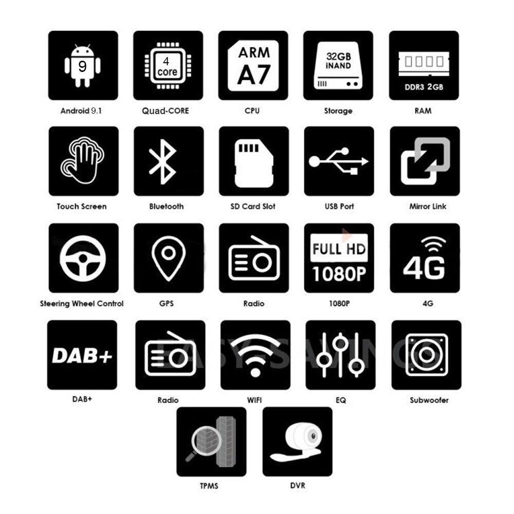 2 Din Android 9.1 2 + 32G voiture lecteur multimédia 2Din 9 pouces Auto Radio pour VW/Volkswagen/Golf/Tiguan/Passat/b6 b5 Radio GPS - 2