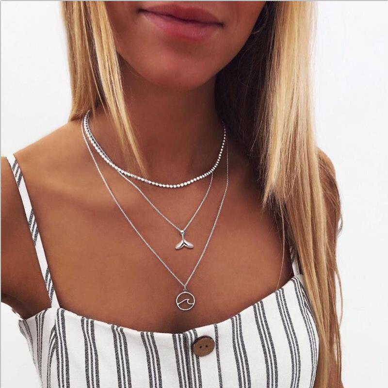 IF ME, винтажное многослойное ожерелье с кулоном из кристаллов, женские бусы золотого цвета, Лунная звезда, рога полумесяца, колье, ожерелье, ювелирное изделие, Новинка - Окраска металла: DY514625