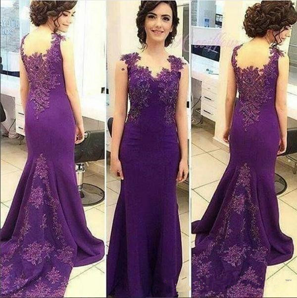 2019 Mother Of The Bride Dresses Purple Lace Appliques Farsali Beaded Hollow Back Long Mermaid Evening Gown Vestido De Madrinha