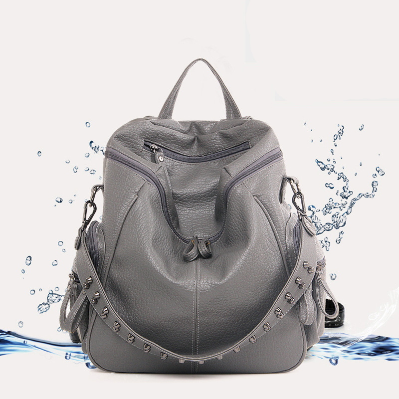2016 Summer New Style WOMEN'S Washed Backpack Casual Leather Bag Travel Women's Soft Leather Backpack