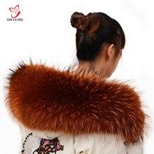 Воротник из натурального меха енота, женский воротник из натурального меха, шаль из натурального меха енота