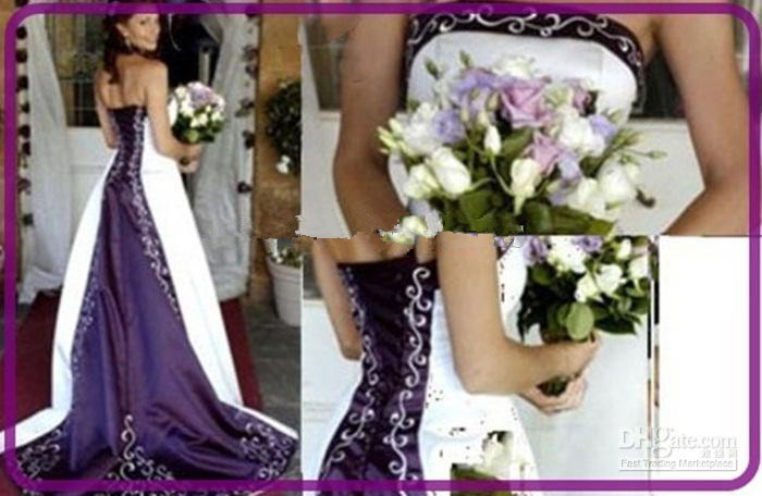New Strapless Embroidery A-Line Satin White And Purple Bridal Gown Custom Vestido De Noiva 2018 Mother Of The Bride Dresses