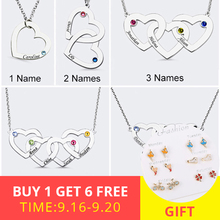 New 925 Silver personalized Family Necklace Custom Engraved Name Intertwined Hearts Birthstone Pendant Necklaces free shipping