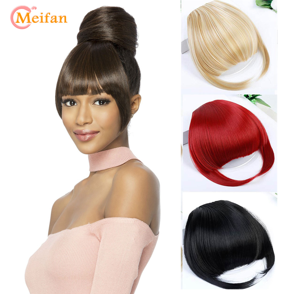 MEIFAN High Temperature Fiber Synthetic Straight Hair Fringe Blunt Bangs Black Brown Clip In Bangs Extension Fake Hairpiece