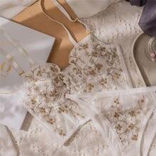 Ensemble soutien-gorge et culotte en dentelle brodée de fleurs, sous-vêtements français, Sexy, façonnant le corps, Push Up, Lingerie blanche romantique, nouvelle collection