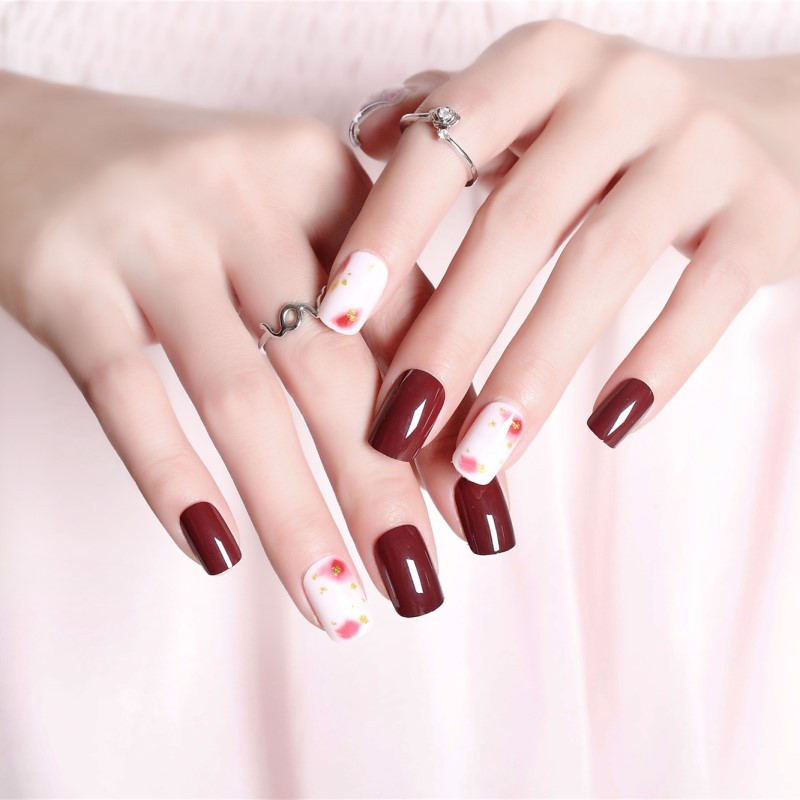 Wear Fake Nails White Dark Wine Red Gold Foil Smudge Manicure Patch 24 PCs Finished Product Fake Nails Nail Sticker 287
