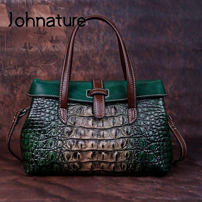Johnature Handmade Embossing Genuine Leather Luxury Handbags Women Bags Designer 2019 New High Quality Shoulder&Crossbody Bags